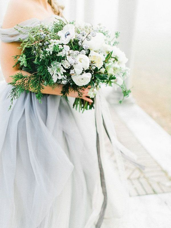 Green and White Bouquet with a Gray Wedding Dress | Rachel May Photography | http://heyweddinglady.com/ethereal-gray-winter-wedding-ideas/