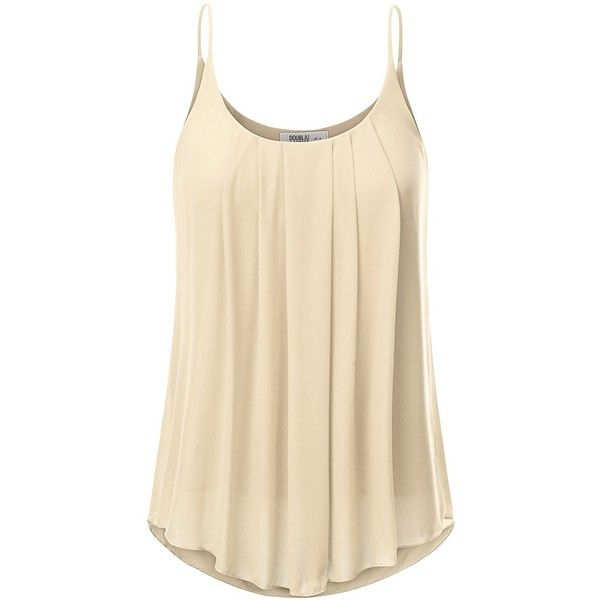 JJ Perfection Women's Pleated Chiffon Layered Cami Tank Top ($9.99) ❤ liked on Polyvore featuring layering camisole, chiffon cami, beige cami, chiffon camisole and layering cami