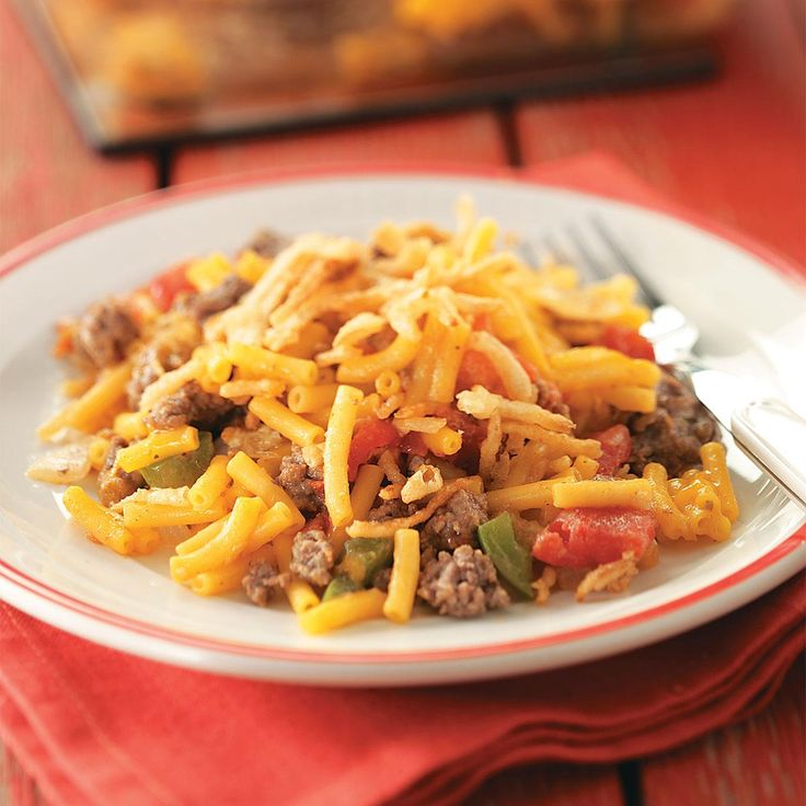 Hearty Macaroni Casserole Recipe -Give Jack Frost the cold shoulder by setting a comforting hot dish on the table. This hearty meal-in-one will satisfy even the biggest of appetites. Enjoy one casserole and freeze the other, or serve them both when entertaining. —Joy Sauers, Sioux Falls, South Dakota