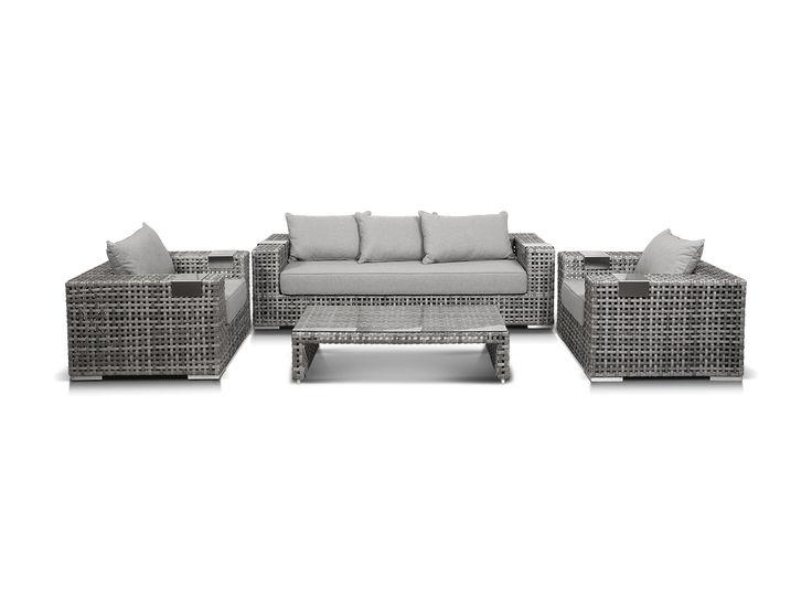 Лаунж зона из искусственного ротанга: 1 трехместный диван, 2 кресла и кофейный столик со стеклянной столешницей. Алюминиевый каркас, искусственный ротанг, ручное плетение. Подлокотники дивана и кресел оснащены алюминиевыми подставками. В комплекте подушки со …