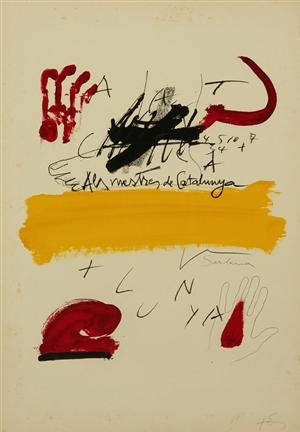 Antoni Tápies Puig (1923-2012). 'Als mestres de Catalunya' 1974. Litografi i farver.