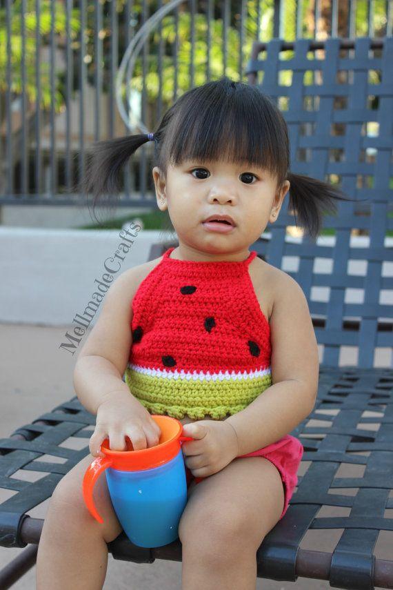 $18.00 Watermelon Crochet Crop Top / Watermelon Halter by MellmadeCrafts