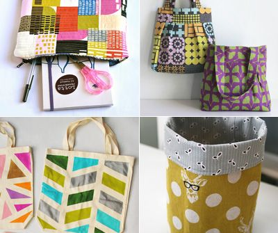 Sewing | How to sew cases, bags, and buckets; iPad or Kindle cover tutorial at Craft Buds, Pleated tote bag PDF from The Long Thread, Geometric DIY painted totes from Collect & Carry, Round fabric storage buckets by Film in the Fridge   // #crafts #sewing #dIY #tutorial