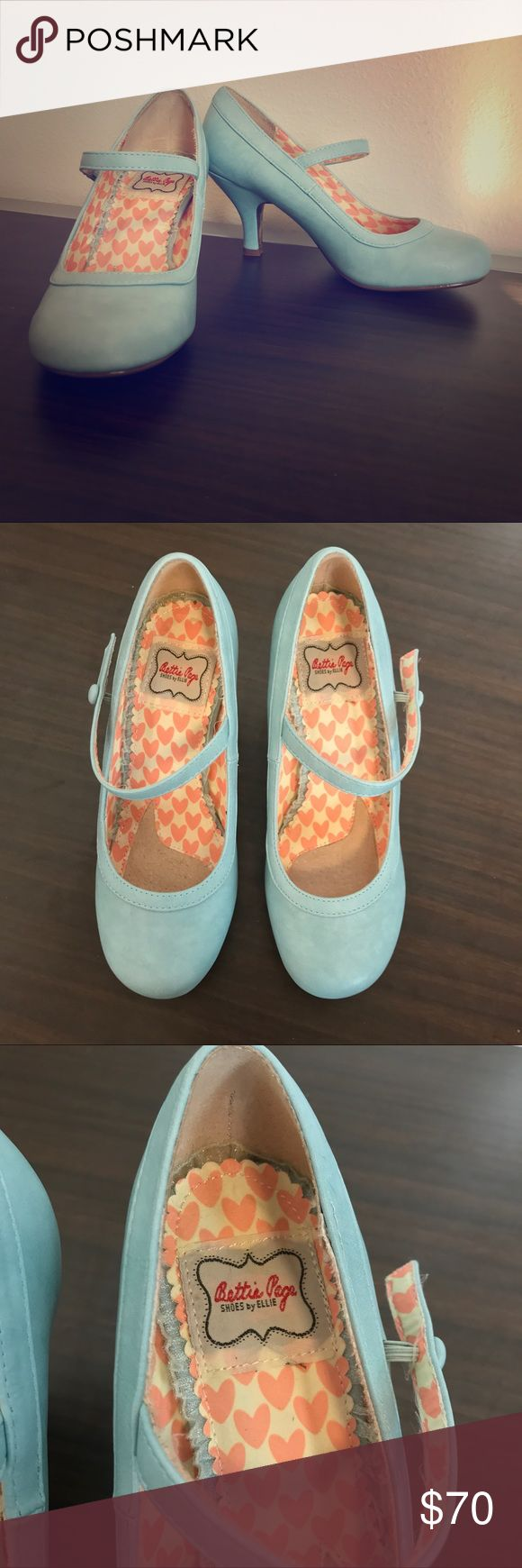 ❤️ Bettie Page Blue Retro Mary Jane Pumps ❤️ Barely worn, excellent condition. Size 6. Elastic band. 3 in cute comfy Mary Jane - style pumps! Color is a pretty powder pastel blue. Leopard print bottoms. Bettie page brand. Bettie Page Shoes Heels