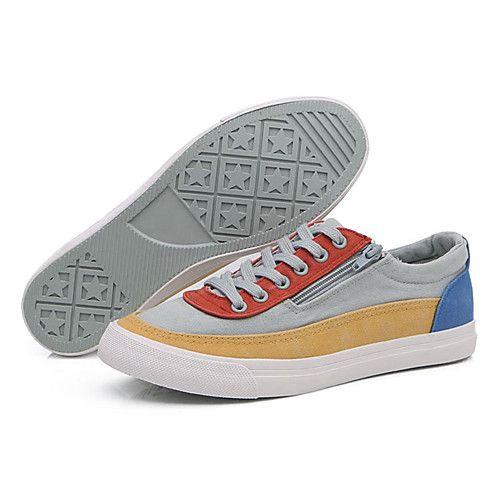 Hombre Zapatos Tela Primavera Otoño Confort Zapatillas de deporte Con  Cordón Para Casual Fiesta y Noche Azul Marino Gris claro Anaranjado