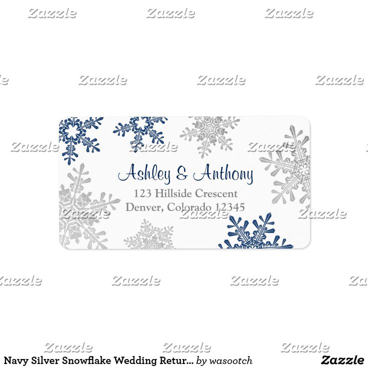 Navy Silver Snowflake Wedding Return Address Label Silver grey, navy blue, and white snowflakes winter wedding return address mailing labels to be used for your wedding reply cards, address labels for other special occasions, or just use it as a general mailing address label.