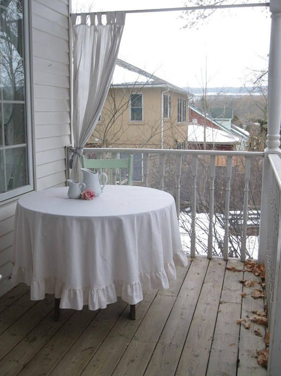 Large Round Tablecloth Frilled Round Cream Tablecloth
