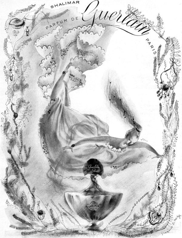 Francoise Estachy Shalimar Perfume Guerlain Paris PARFUM 1948 Magazine Print Ad #Guerlain