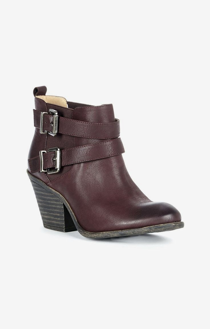 Wine leather bootie with a stacked heel and crisscross buckled straps for a rugged, cool look ♡