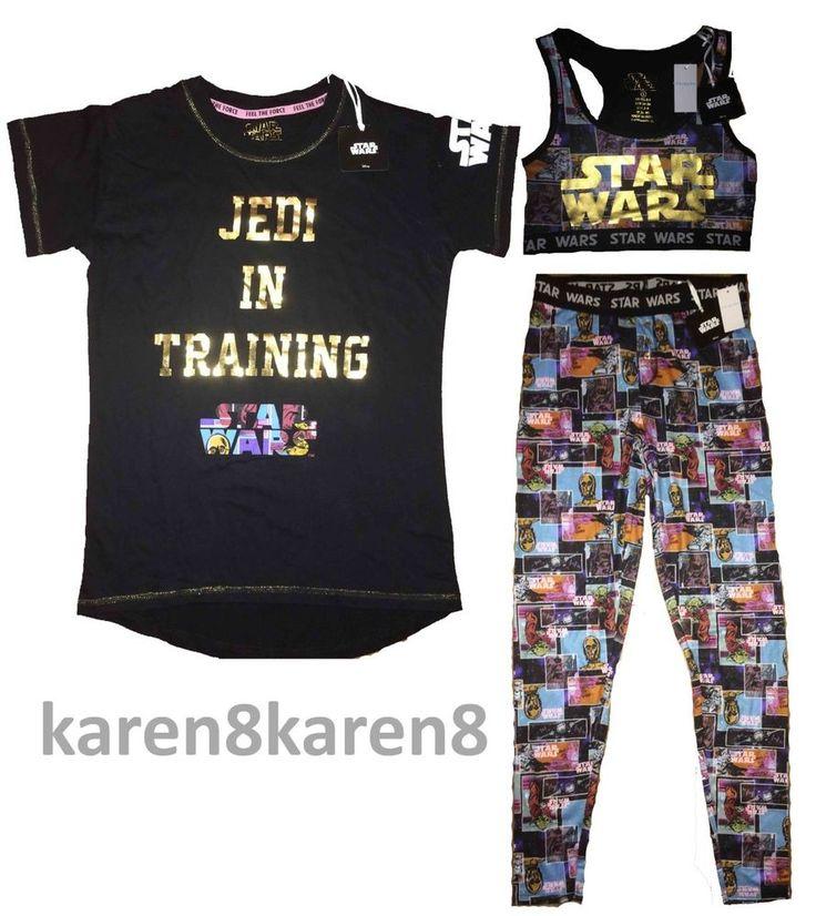 Ladies DISNEY STAR WARS Pyjamas Leggings T Shirt Crop Top Primark