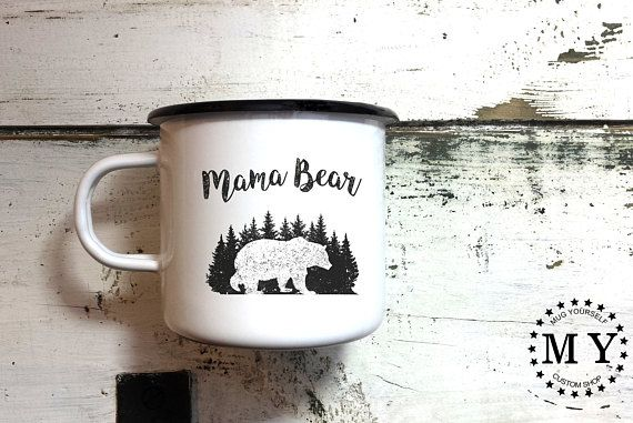 Mama Bear Enamel Mug - Pregnancy Announcement - Pregnancy Gift
