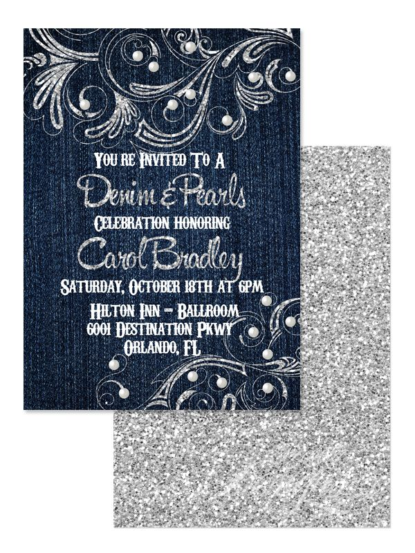 pink black and white bridal shower invitations%0A Denim and Pearls  Birthday Invitation