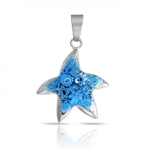 Bling Jewelry Blue Millefiori Glass Nautical Starfish Pendant 316L Stainless