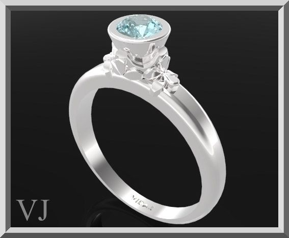 Blue Topaz Sterling Silver Engagement Ring,Solitaire Engagement Ring,Flower Engagement Ring,Unique Engagement Ring