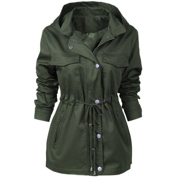 MITATI Womens Military Anorak Safari Hoodie Jacket with Pockets (412.245 IDR) ❤ liked on Polyvore featuring outerwear, jackets, anorak jacket, anorak coat, military style jacket, safari jacket and military anorak