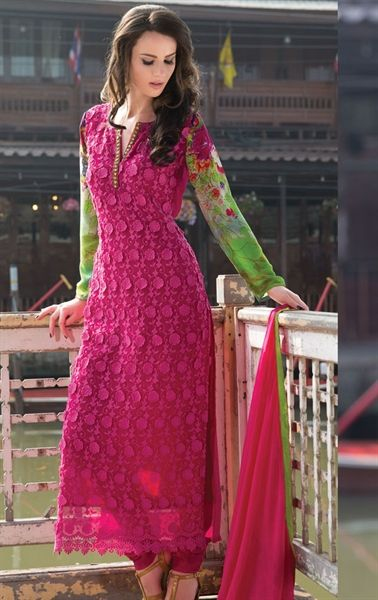 Picture of Premium Pink and Green Indian Party Wear Salwar Kameez