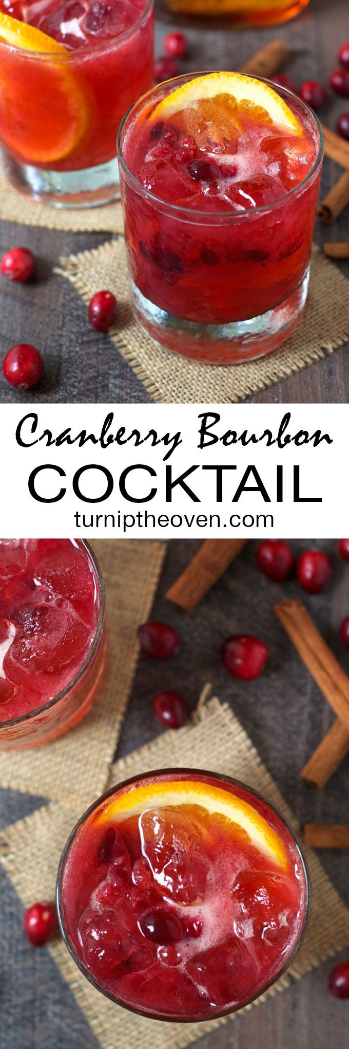 This festive, fizzy cranberry bourbon cocktail is made with only three simple ingredients!