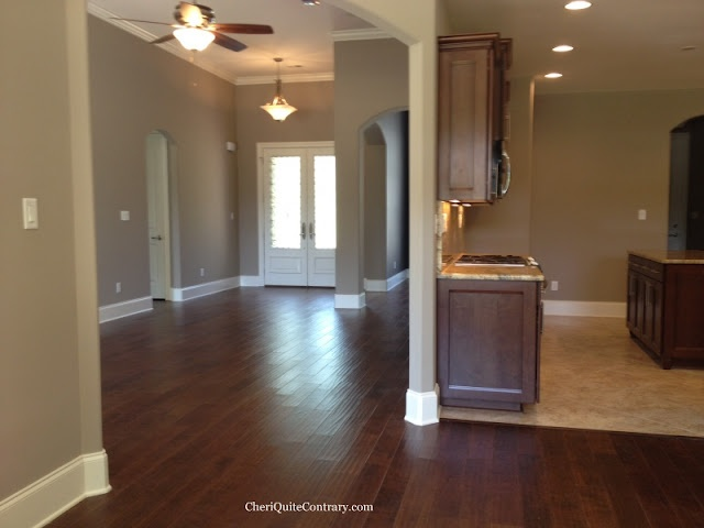 Sherwin Williams Perfect Greige - main color of our house, with the darker shade (spalding grey) as accent walls