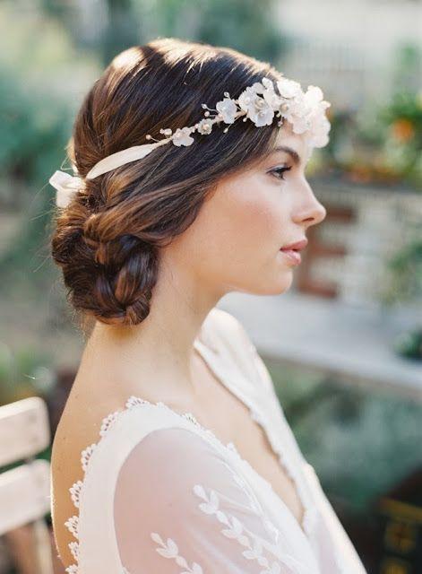 peinados cortos - peinados de novia con flores naturales