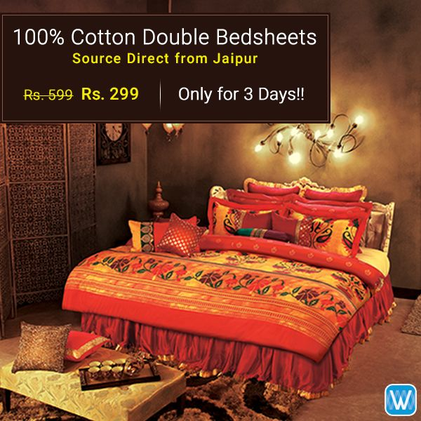 Abi Nahi toh Kabhi Nahi! Retailers, source 100% cotton double bedsheets Direct from Jaipur only on #Wydr Wholesale E-Commerce. Buy in bulk. Visit Wydr now!