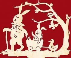 Fensterbild Ostern Hase mit Handwagen