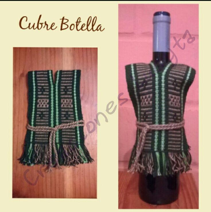 Cubre Botella tejido en telar mapuche.
