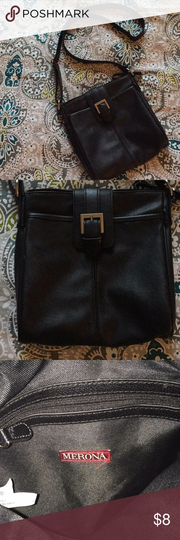 Black crossbody purse Black crossbody purse. Merona brand. Adjustable strap. Only worn once. Purchased from Target. Merona Bags Crossbody Bags