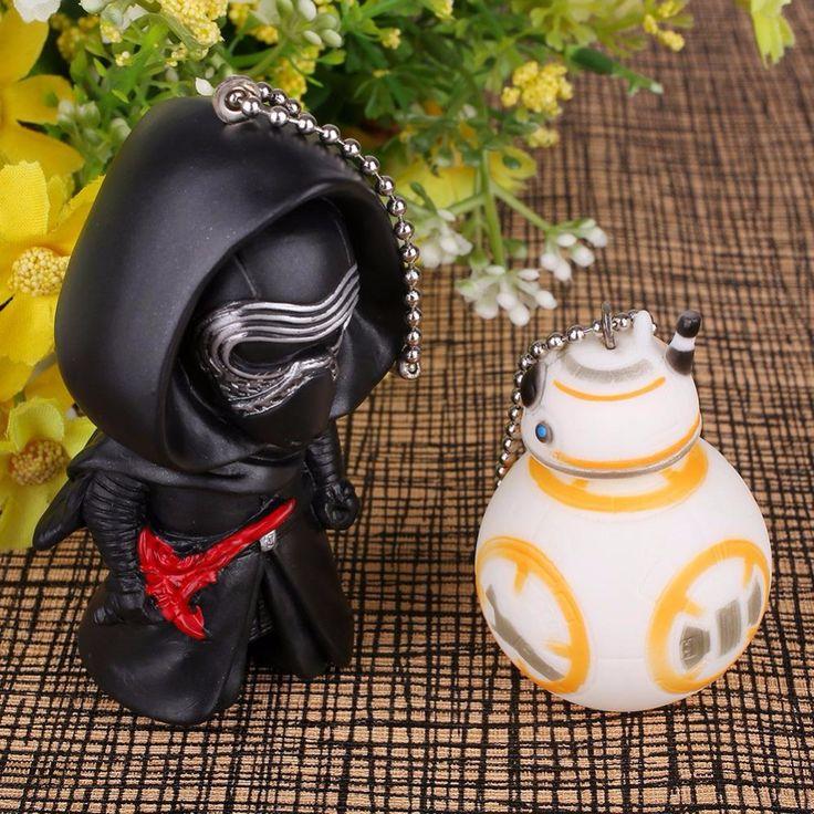Star Wars BB8 BB-8 Black Knight Darth Vader Action Figure Toy Keychain