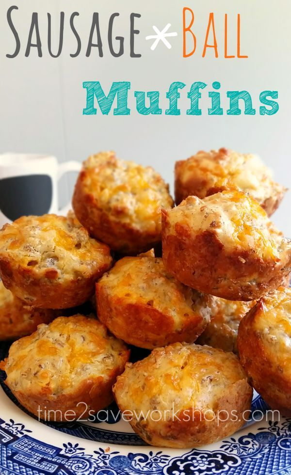 Just because our mornings are a mad rush, doesn't mean we can't get a hot breakfast.. These Sausage ball muffins are so dang good and filling!