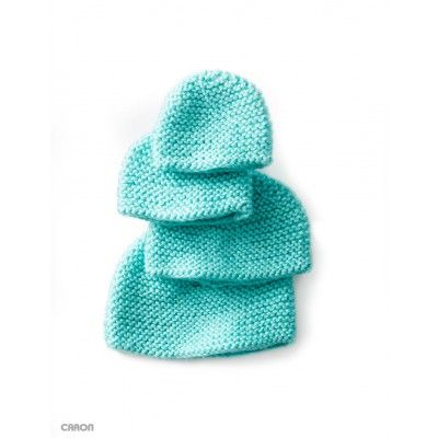 A great beginner project, this Mini Garter Stitch Knit Cap is knit in Caron Simply Soft for Preemies and Newborns.   Yarnspirations  Free Beginner Baby's Hat Knit Pattern