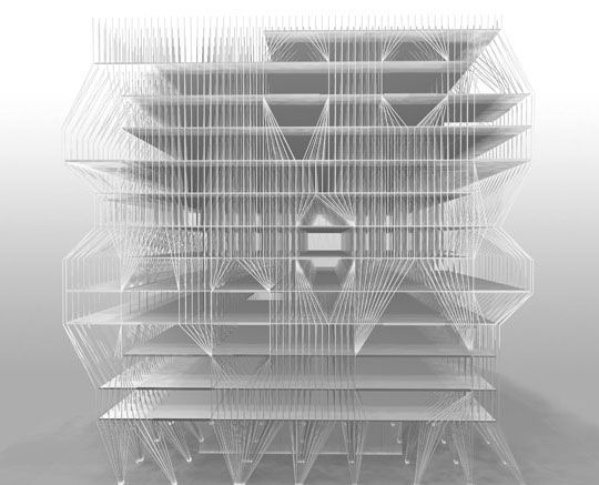 Prague Library Design, Exterior Rendering.  Studio ST Architects.