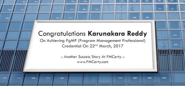 Congratulations Karunakara On Achieving PgMP..!