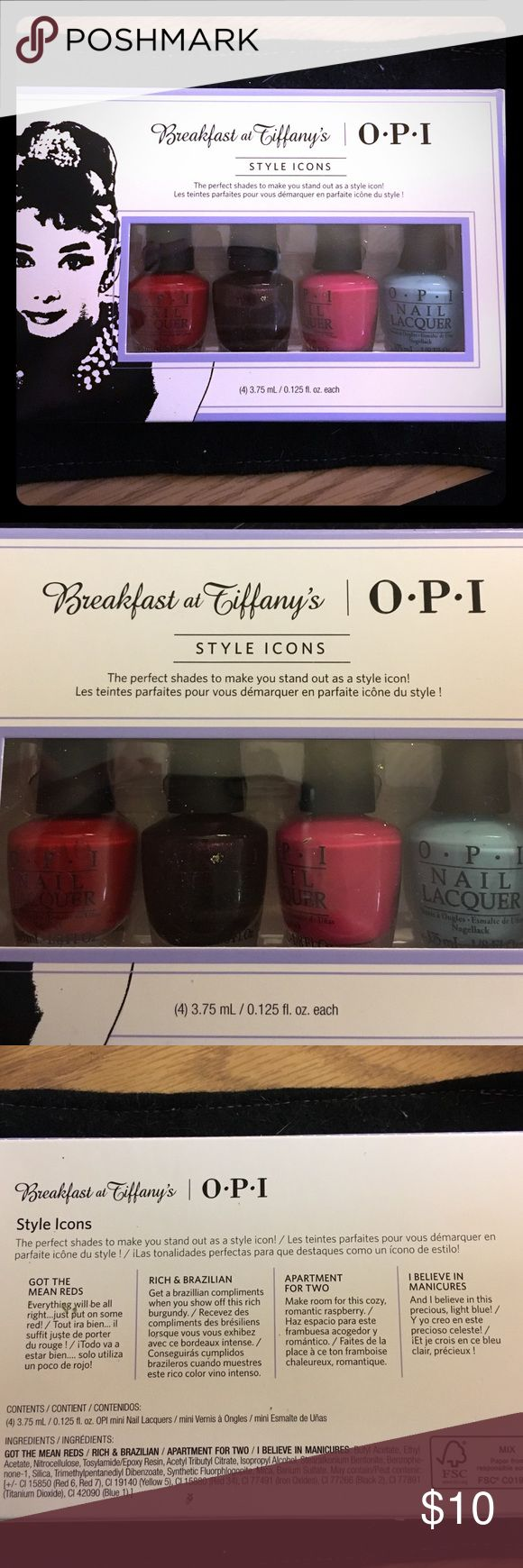 Opi Breakfast At Tiffany's Gift Set Opi's Breakfast at Tiffany's Four Piece Mini Gift Set! Limited time release! Includes: I Believe in Manicures, Apartment for Two, Got the Mean Reds, and Rich & Brazilian! Opi Other