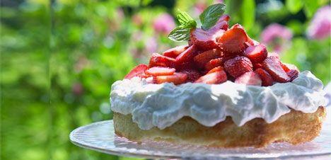 Hvid chokolade mudcake med jordbær