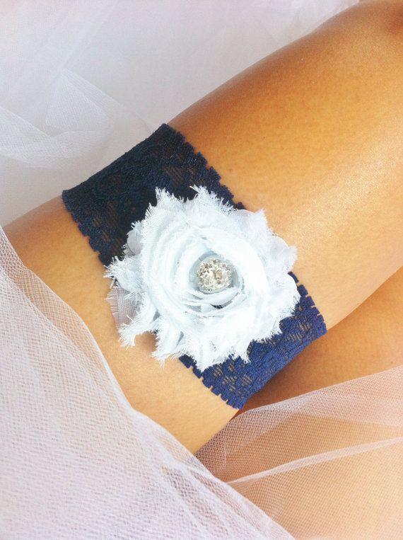 Navy and White wedding Garter by sugarshoppe on Etsy, $11.50