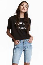 Kort T-shirt - Zwart - DAMES   H&M BE 1