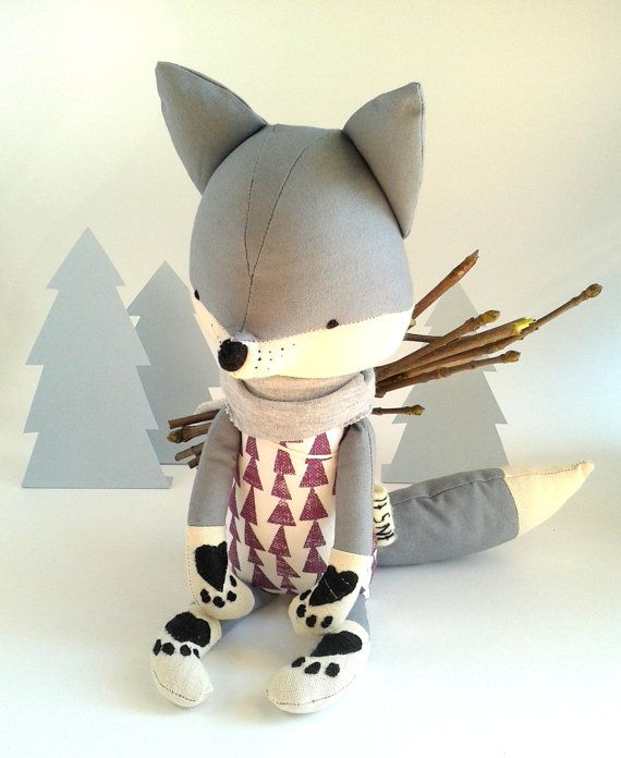 RUNE the fox. made-to-order. stuffed toy. gift for children. eco toy. stuffed fox. toy fox. kids room decorative fox.