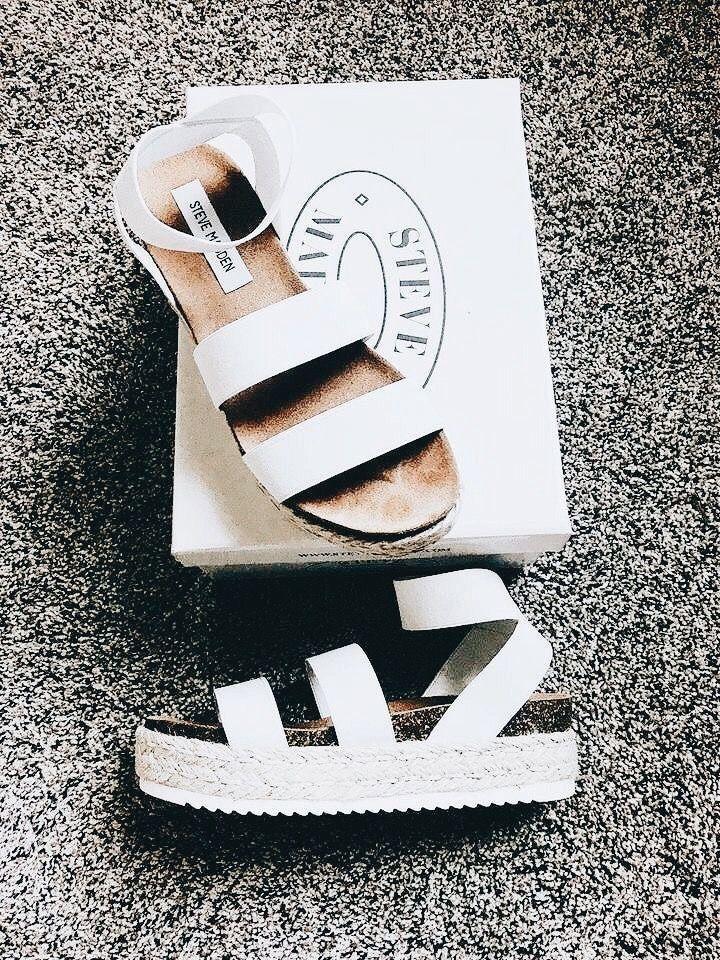 864a2fbe8e5 Trending: 2018. White Steve Madden summer platform sandals. | Shoes ...