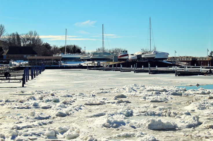 Ice in the harbour Kincardine, Ontario