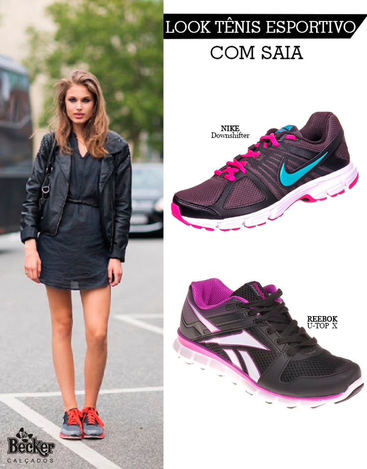 Look Tênis esportivo com saia! Saiba como usar. Compre Tênis Nike Downshifter: http://www.beckercalcados.com.br/tenis-nike-downshifter-1281.aspx/p Compre Tênis Reebok U-Top X: http://www.beckercalcados.com.br/tenis-reebok-u-top-x-667.aspx/p
