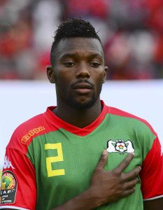 Steeve Yago of Burkina Faso during the 2015 Africa Cup of Nations football match between Equatorial Guinea and Burkina Faso at the Bata Stadium in Bata, Equatorial Guinea on 21 January 2015 ©Barry Aldworth/BackpagePix
