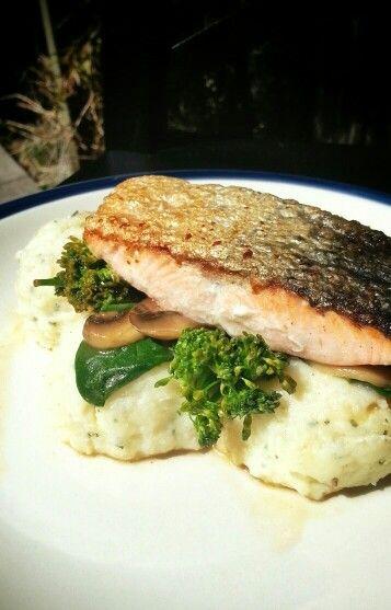 Crispy pan fried salmon