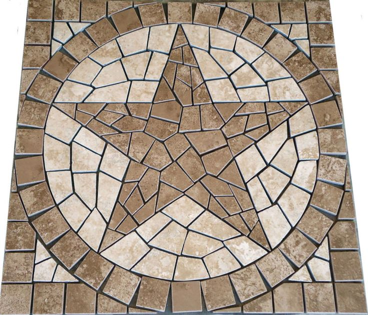 S Pacific Sand Texas Star Mosaic Medallion Backsplash Floor Tile Deco Design Inl