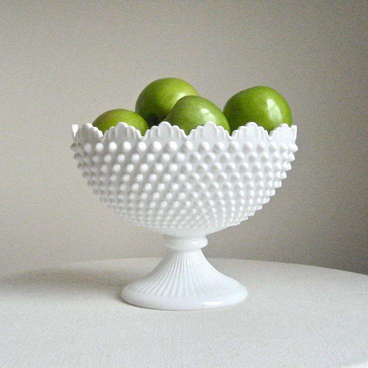 Fenton Hobnail Milk Glass Oval Footed Bowl by BarkingSandsVintage, $74.00
