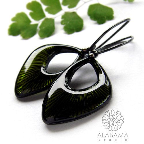 Olivine dangle earrings  modern geometrical OOAK by AlabamaStudio, zł380.00