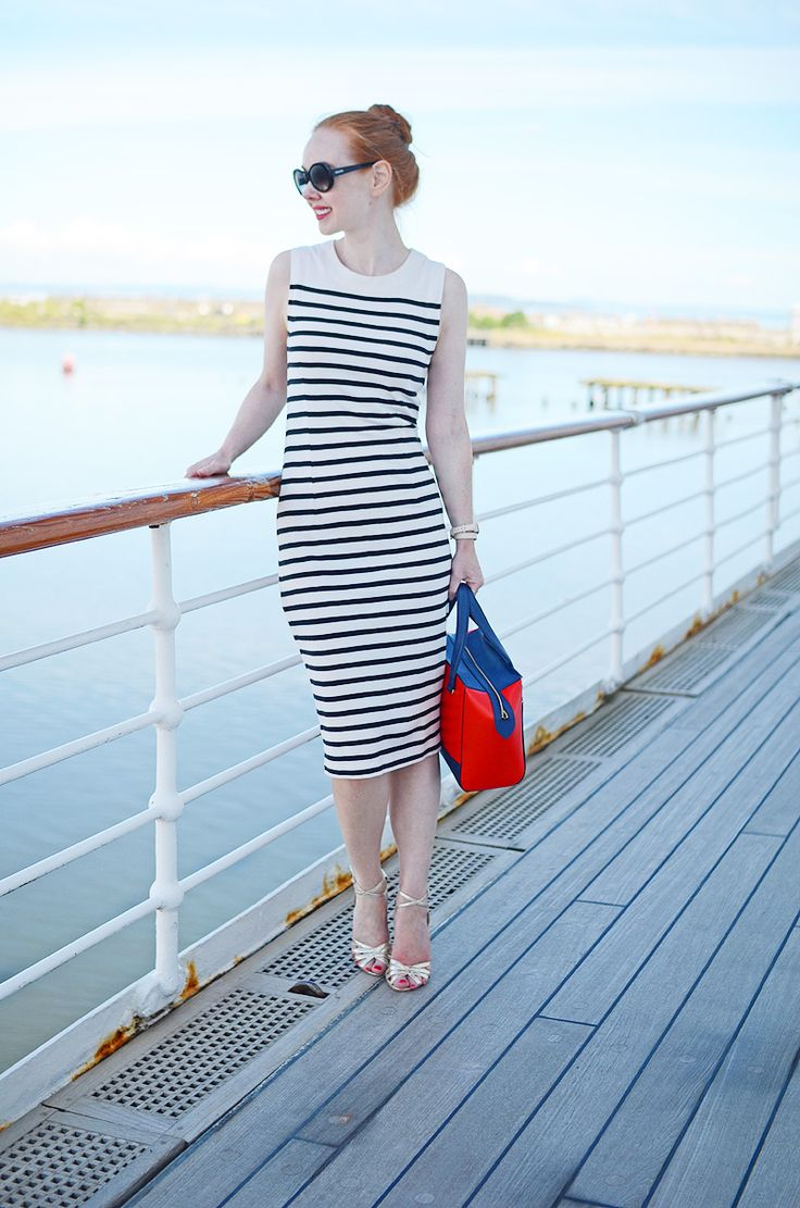 nautical stripe bodycon dress