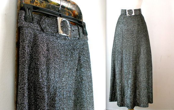 anni sessanta/settanta metallico galassia Maxi gonna con cintura in argento, piccolo