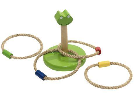 """#Ringwurfspiel """"Crazy Loop"""", aus Holz: in Froschoptik, inkl. 4 Wurfringe mit farbig abgesetzter Holzmarkierung - perfekt für Kinder!"""