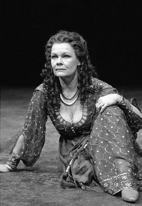 Reflecting historical period in theatrical costumes Production photograph of Judi Dench as Cleopatra in William Shakespeare's 'Antony and Cleopatra', London, 1987, photograph by Graham Brandon...