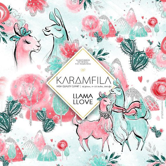 Cute Llama Clipart St Valentines Day Clipart Alpaca Clip Art
